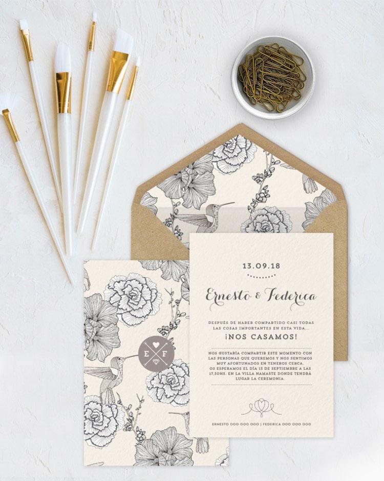 invitacin de boda con pjaros y flores